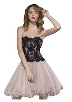 Finished with beautifully adorned black lace this fancy cocktail dress is a fabulously feminine design. The dramatic pale pink skirt cuts the most sensational silhouette. Wear this glamorous dress to stylish parties! Glamorous Dresses, Wedding Gowns, Backless Wedding, Prom Dresses, Formal Dresses, Wedding Hairstyles, Glamour, Fancy, Stylish