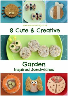 Cute and easy garden themed food - 8 simple garden sandwich ideas for kids - all made with circle cutters - great for fun bento lunches or cute snacks this summer