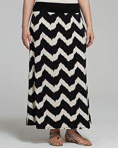 Karen Kane Plus Tribal Zig Zag Maxi Skirt