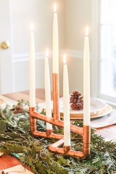 DIY copper pipe centerpiece is hardcore yet pretty diy!