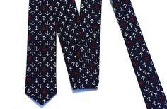 Nautical Tie - Navy Anchors Tie - Wedding Tie - Groomsmen Ties - Japanese Cotton by VIVIDClothingToronto