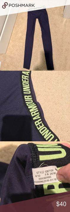 Under Armour fitted workout pants, XS/S GUC!  Used maybe 5 times to lounge in!  Color is navy blue and lime green writing! Under Armour Pants