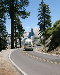 on the road in Yosemite