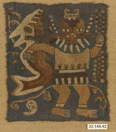 Embroidered Mantle Fragment ~ 3rd-2nd century BCE ~ Peru ~ Culture: Paracas ~ The Metropolitan Museum of Art.