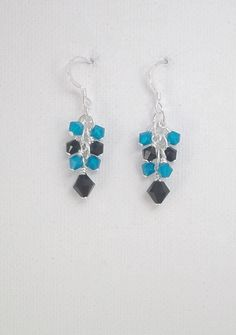 Carolina Panthers Crystal Cluster earrings by TSDesignss on Etsy