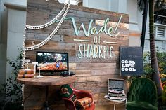 The Cream Event Los Angeles, Sharkpig Videography, wood palette wall, vintage furniture