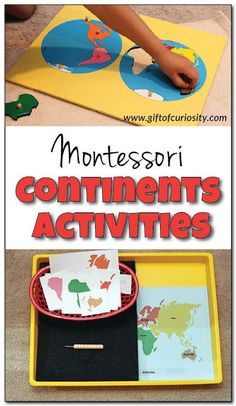 4 simple Montessori activities for teaching the continents to young kids. These four activities will have your kids recognizing and naming the continents in no time! My kids would love #2! || Gift of Curiosity