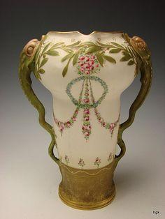 Jugendstil RSTK Turn Teplitz Amphora Snakes Vase