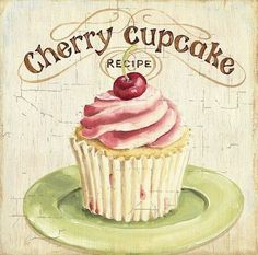 quenalbertini: For decoupage by Lisa Audit Decoupage Vintage, Decoupage Paper, Vintage Diy, Vintage Labels, Vintage Cupcake, Vintage Bakery, Vintage Style, Cherry Cupcakes, Sweet Cupcakes