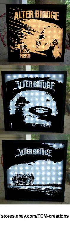 Alter Bridge shadow boxes with LED lighting.  One Day Remains, The Last Hero, Fortress, AB III, Blackbird, Myles Kennedy, Mark Tremonti, Scott Phillips, Brian Marshall