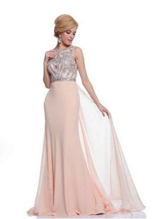 Peach Blush Beaded Jersey Gown w/Floating Chiffon Panel #DecoGowns #VintageInspiredGowns #VintageWedding