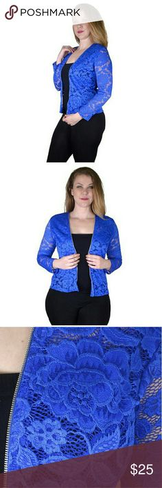 Full Sleeves Open Front Shrug 95%Nylon 5% Spandex Blue  this shrug is crafted from a blend of nylon and spandex. Vibrant blue color of the shrug looks classy and graceful. It has full sleeves with open front that makes it visually appealing. Plus size shrug has a mesh fabric with textured surface that makes it look stylish. Open front shrug can be worn on the casual as well as formal occasions. Jackets & Coats Blazers
