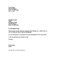 basic yet professional sample resignation letter template - How To Write A Letter Of Resignation Due To Retirement