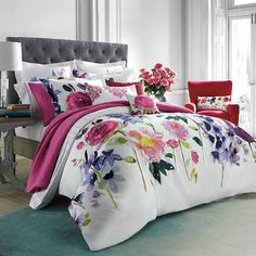 Named after a beautiful island on the West Coast of Scotland, the Taransay comforter set features maxi floral blooms beautifully rendered in a signature, hand-painted watercolor style. Floral Bedspread, Floral Comforter, Comforter Sets, Bedroom Color Schemes, Bedroom Colors, Bedroom Decor, Bed Sets, Romantic Bedding Sets, Bed Springs