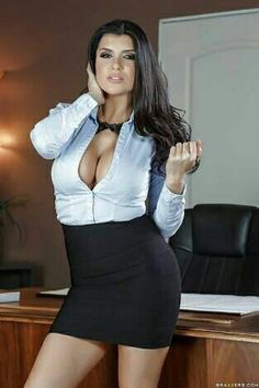 Romi rain sexy office cleavage shot sexy babes