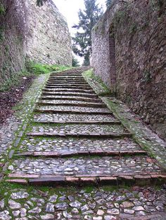 Ancient steps, Spoleto, Italy, province of Perugia Umbria