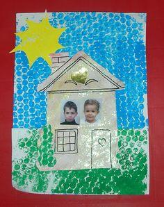 Maison - peinture avec papier bulle