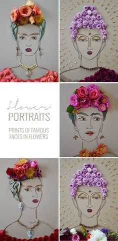 Prints of famous made completely of flowers!