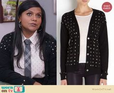 Mindy's pin dot shirt with checked tie and crystal studded cardigan on The Mindy Project.  Outfit Details: https://wornontv.net/24700/ #TheMindyProject