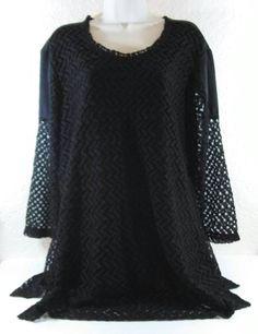 CLOSET FULL Black Chevron DRESS Arms See Thru Size XL B233 #ClosetFull #LittleBlackDress