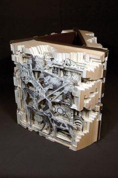 Altered Books by Brian Dettmer - Design Milk Paper Book, Paper Art, Paper Crafts, Brian Dettmer, Art Et Design, Altered Book Art, Book Sculpture, Art Sculptures, Book Folding