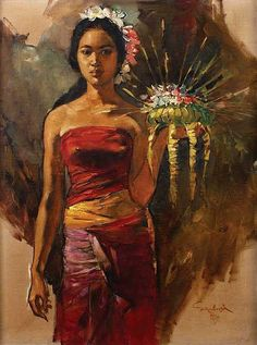 Sambodja, Women With Offringsigned and dated - by Sidharta Auctioneer