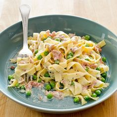 For the best Tagliatelle with Prosciutto and Peas, we infuse cream with prosciutto di Parma. Aged Gruyère—a break from tradition—adds deep savoriness to the dish.