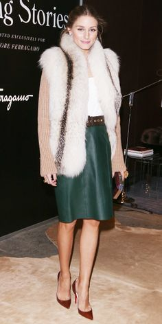 Olivia Palermo's 35 Best Looks Ever - Fur Vest, Leather Skirt, and Christian Louboutin from #InStyle