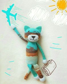 This classic ami cat is easy-to-create and perfect to start with if you're a beginner. The size of finished amigurumi toy is about cm. Crochet Cat Pattern, Crochet Bear, Crochet Patterns Amigurumi, Crochet Gifts, Cute Crochet, Crochet Hooks, Yarn Animals, Crochet Animals, Crochet Instructions
