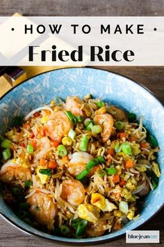 Shrimp Fried Rice is a perfect meal to make when you have leftover rice on hand. Click here to watch the step by step video on how to make this authentic dish. It's a blank palette meal allowing you to customize vegetables and protein. Add shrimp, pork, chicken, and eggs. So easy to customize to your taste and better than take out! Rice Recipes, Seafood Recipes, Asian Recipes, Ethnic Recipes, Seafood Boil, Skillet Recipes, Asian Foods, Chinese Recipes, Chinese Food