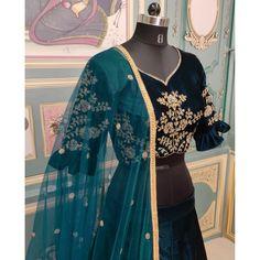 Rama dark green velvet heavy embroidered wedding lehenga choli Indian Bridesmaid Dresses, Indian Dresses, Set Saree, Green Lehenga, Designer Bridal Lehenga, Bridal Lehenga Choli, Clothes For Women, Trending Outfits, How To Wear