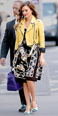 Burberry bomber over a multicolor Dolce & Gabbana dress with two-tone Sigerson Morrison sandals (my 2013)