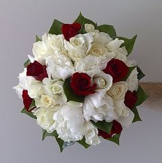white peony red rose bouquet