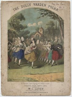 """The Dolly Varden Polka"" by W. C. Levey, artwork by Alfred Concanen. c.1870 #sheetmusic #irish #polka"