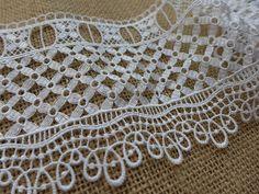 Venecia de encaje Crochet blanco de encaje de corte para