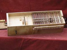 Pictures and details of a Symphony box hurdy-gurdy by Chris Allen and Sabina Kormylo Hurdy Gurdy, Brass Band, Musical Instruments, Benches, Musicals, Woodworking, Pattern, Music Instruments, Drawings