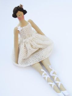 Fabric doll white ballerina princess cloth by HappyDollsByLesya