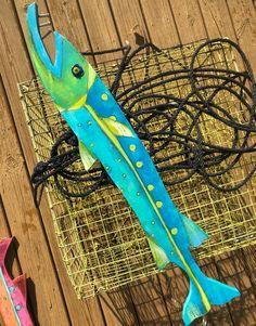 Tropical Fish - Benjamin the Barracuda – Artworks by Kelly Fish Wall Decor, Beach Wall Decor, Coastal Wall Art, Coastal Decor, Wood Plank Art, Wood Planks, Wall Wood, Driftwood Fish, Painted Driftwood