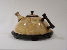 Birch burl teapot by Saskatchewan artist Dale Lowe.