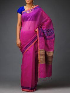 Pink-Blue Mukaish Tussar-Silk Saree