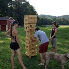 Outdoor party game backyard oversized jenga....so fun!  I wonder if there is a 'safer' lighter material to make this out of?