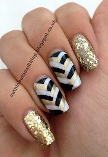 fishtail manicure gold black white nail art