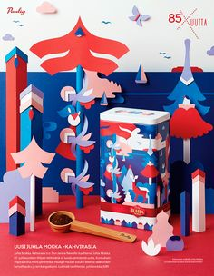 Advertising for coffee can designed by Janine Rewell. Paper cut set by Owen Gildersleeve. Client: Paulig