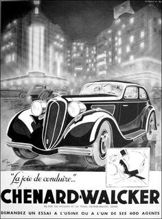 CHENARD WALCKER automobiles poster, original ad, vintage advertisement from Ideal Classic heating systems on the reverse side by OldMag on Etsy Vintage Advertisements, Vintage Ads, Vintage Posters, Poster Ads, Car Posters, Classic Motors, Classic Cars, Buick, Peugeot 202