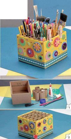 10 DIY Storage Art-DIY Home ideas that make statement - Craftered Toilet Paper Roll Crafts, Cardboard Crafts, Paper Crafts, Craft Organization, Craft Storage, Storage Bins, Diy Organizer, Diy For Kids, Crafts For Kids