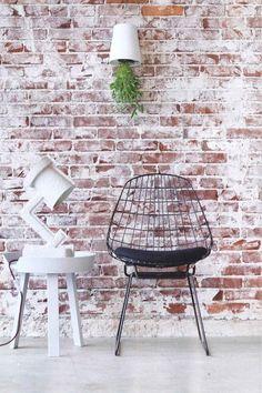 The design chaser: interior brick raw white wash brick, white wash walls, e Brick In The Wall, Brick Walls, White Wash Walls, White Wash Brick, Diy Interior, Interior Styling, Interior Design, Home Decor Inspiration, Chair Design