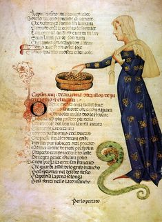 """Illuminations of a standing women from """"Acerba"""", didactic-allegorical poem in Italian, by Cecco d'Ascoli , 1380s"""