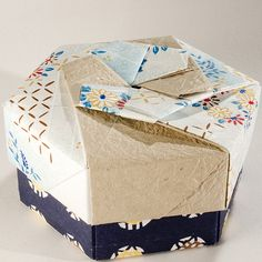 Decorative Hexagonal Origami Gift Box with Lid