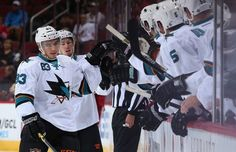 San Jose Sharks forward Matt Nieto celebrates his first period goal with the bench (Oct. 3, 2014).