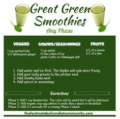 The freshest, fastest way to get your veggies is in a smoothie. Cheers to this healthy, delicious smoothie that works in Any phase of the Fast Metabolism Diet! There are also variations available for each phase. So, try these Great Green Smoothies. Serves 1, but double the servings if you like.